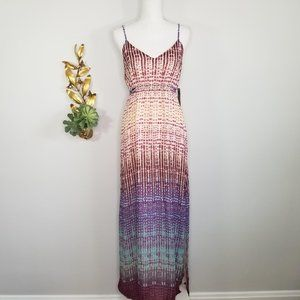 Charlie Jade Earth Tone Maxi Dress Side Slit L